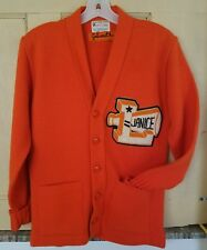VINTAGE 50s 60s ? 100% Orlon Acrylic VARSITY LETTER CARDIGAN cheerleading orange