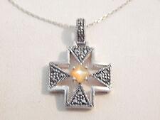 Jewellery - Sterling Silver, Marcasite & MOP Pendant & Chain - Deceased Estate