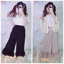 Japanese Mori Girl Double Voile Chiffon Loose Pants Sweet Falbala Kawaii Lolita