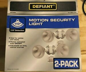 2 pack Defiant Motion Activated Sensor Outdoor Security Flood light, White, NEW