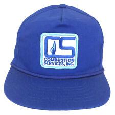 Vtg Combustion Services Hat Patch Cap Logo Rope Strap Back Trucker Baseball Blue