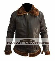 Men's Aviator 100% Real Cow Hide Leather Bomber Flying Leather Jacket