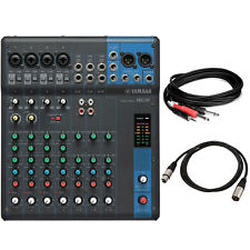 Yamaha Mg10 10-Input Stereo Compact Mixer Bundle W/ Xlr & Trs Cables *New*