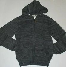 H & M Boy's GRAY Hooded ZIP-FRONT 100% COTTON LONG SLEEVES SWEATER, Sz 14Y+