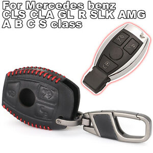 Leather Key Cover Fob case for Mercedes benz CLS CLA GL R SLK AMG A B C S class