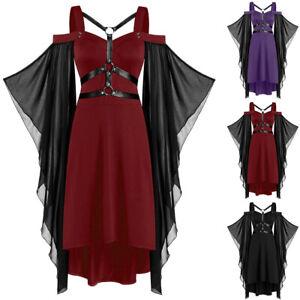 Damen Casual Halloween Thema Party Dress Gothic punk Langarm Unterhaltung Kleid