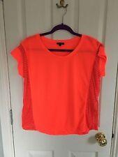 River Island Neon T-shirt con Sheer Panel i lati, taglia 14, immacolato