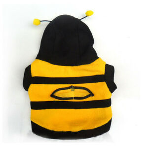 Cute Bumble Bee Lovely Cat Pet Harness Apparel Hoodie Dog Costume Clothes Fleece