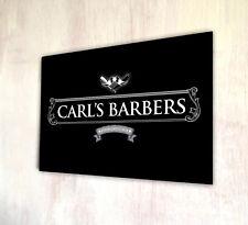 Personnalisé avec votre nom Barbiers Shop Silver Label Sign A4 plaque métal