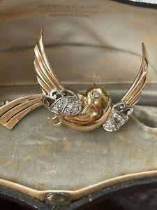 Superbe Broche Oiseaux Or/diamants
