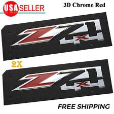 2x Chrome Red Z71 Emblems 4x4 for GMC Chevy Silverado Sierra Tahoe Suburban Pair