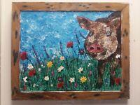 FRAMED *original* palette knife pig painting farm animal impressionist