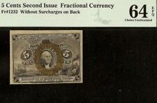 UNC 5 CENT FRACTIONAL CURRENCY UNITED STATES NOTE PAPER MONEY Fr 1232 PMG 64 EPQ