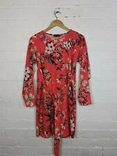 Pretty Little Thing Red Floral Print Tie Waist Dress Size UK 8