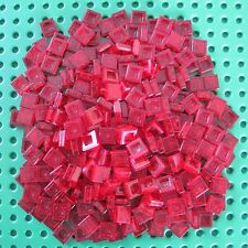 LEGO 1x1 NEW TRANS RED SMOOTH FINISHING PLATES LOT OF 300 PIECES FREE SHIPPING