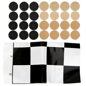 24PCS Wooden International Draught Checker Game Set Wood Chess Pieces With