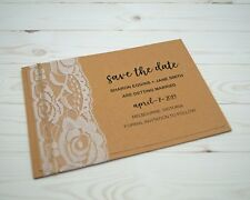 Save The Date Card, with envelope, Includes Printing, Rustic Lace Kraft Paper