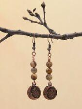 Brown Jasper and Moon Pendant Dangle Boho Earrings