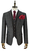 MENS CAVANI GREY CHECK TWEED 3 PIECE WEDDING FORMAL WORK SUIT ITALIAN REG FIT