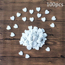 200 White Wooden Love Heart Flower Craft Scrapbook Wedding Embellishment DIY