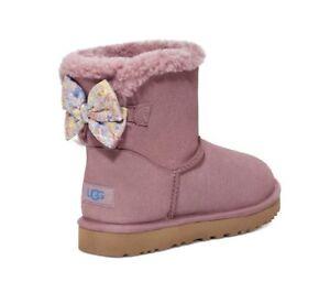 NWT +Box UGG Australia Women's 8 Pink Paint Splatter Mini Bailey Bow Boots