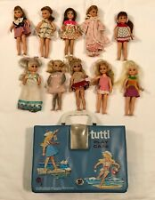 Lot of Vintage Barbie Little Sister Tutti Dolls with Blue Vinyl Play Case 1965