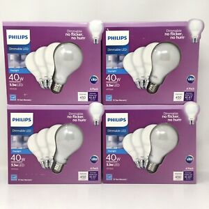 Philips 40W Equivalent Soft White A19 Dimmable LED Light Bulb, 16 Bulbs Total