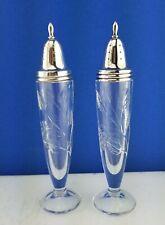 "6.75"" Tall Vintage Pair Cut Crystal Salt & Pepper Shakers w Sterling Silver Tops"