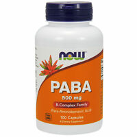 NOW Foods PABA 500mg 100 Capsules   Grey Hair   Restore Natural Hair Colour