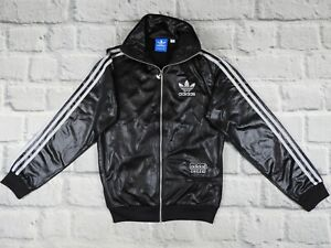 men adidas chile  track jacket zip stripes firebird   black   size XS