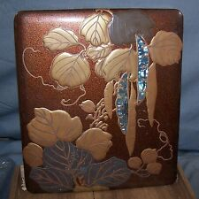 Japanese Edo Korin Inlaid Maki-e Lacquer Wood Writing Box-Inkstone-Water Dropper