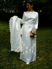 Vintage Original 50s 60s Satin Guipure Lace Ivory Wedding Dress and Train 10/12