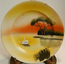 "Vintage ""Swan on a Pond"" 7.25"" Sandwich Plate Made In Japan Excellent Condition"