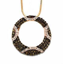 Chocolate Brown & White Diamond Pendant 10K Rose Gold .40ct Circle Pendant