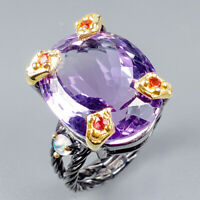 Handmade23ct+ Natural Amethyst 925 Sterling Silver Ring Size 8/R124920