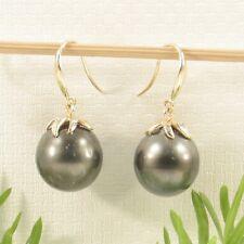 Genuine Tahitian Pearl & Diamonds 14k Yellow Gold Dangle Hook Earrings TPJ