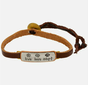 Far Fetched LIVE LOVE ADOPT Leather BRACELET Alpaca Silver BA-166 + Gift Boxed