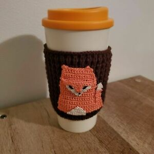 New Travel Coffee Tea Tumbler Knitted Fox Cup Sleeve Jacket Orange and White
