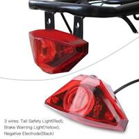 Electric Bike Scooter Rear Tail Safety Light Warning Ebike Brake Lamp Waterproof