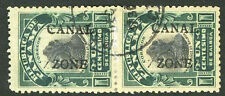 Canal Zone 22e Used 1c Portrait Double Overprint Error Pair $550.00+ 5C19 12