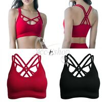 Sexy Women Ladies Seamless Crop Top Padded Bra Sports Yoga Gym Strappy Vest Tops
