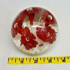 2003 JOE RICE Deep RED TRUMPET FLOWER Controlled Bubbles Art Glass Paperweight