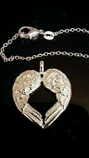 """NEW GUARDIAN ANGEL 925 STERLING SILVER NECKLACE HEART WING 18"""" LOBSTER CLASP"""
