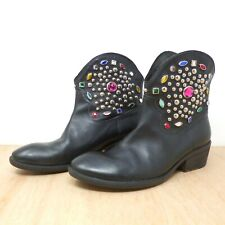 Russell & Bromley Black Leather Jewelled Western Cowboy Ankle Boots UK SZ 6.5