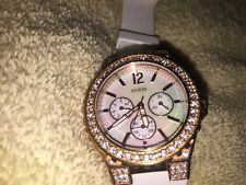 GUESS Waterpro Lady's Rose Chronograph Mother Of Pearl Dial White Comfort Band