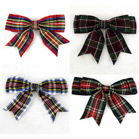 """80-85mm TARTAN CHRISTMAS Double Bows Ribbon Bows With Tails 3.5"""" 4/8/20 Small"""