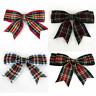 "80-85mm TARTAN CHRISTMAS Double Bows Ribbon Bows With Tails 3.5"" 4/8/20 Small"