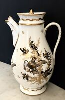 CAFETIERE PORCELAINE PARIS BRUXELLES 1er EMPIRE 1810 OISEAUX 19TH XIXe (ACC)