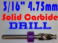 "3/16""  4.75mm  -Solid Carbide Drill Bit - 1/8"" Shank -Sharp! CNC Hobby Model -lu"