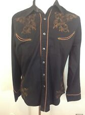 Men's Vintage ROPER Black Pearl Snap Western Shirt Embroidered Rockabilly Sive L